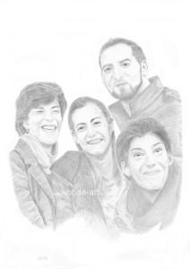 Portrait Vier Personen Bleistift