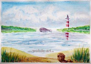 Auarell: Strand, Schädel, Leuchtturm