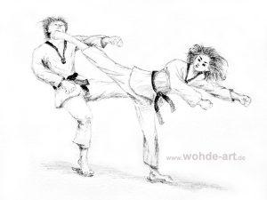 Bleistift, Zeichnung: Taekwondo, Kampf