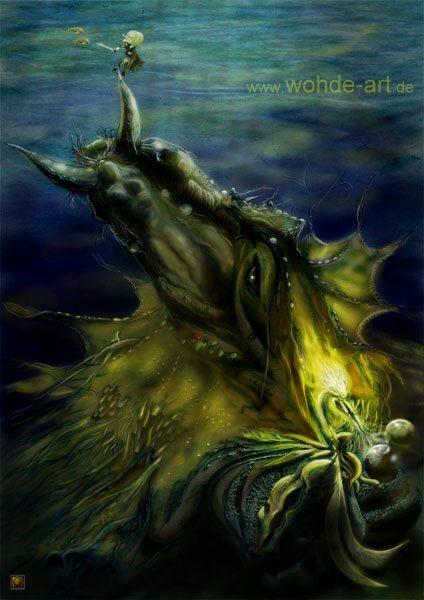Drache/Pferd in Metamorphose zur Frau, Digital Malerei