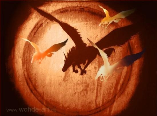 Mehrere fliegende Einhörner bzw Pegasus