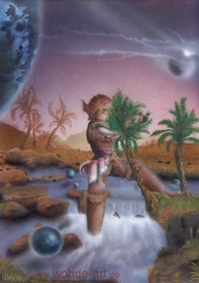 Wesen in Flusslandschaft mit Erdkugeln