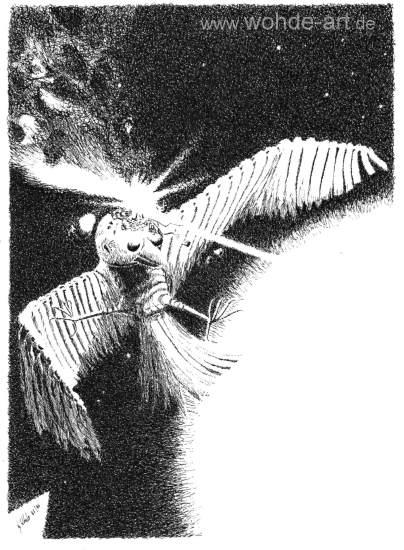 Mechanischer Vogel im Weltall erleidet Abschuss