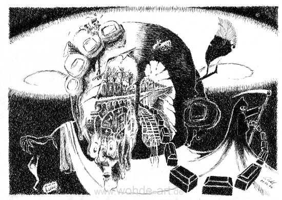 Apfel in einer quetschenden Faust mit Totensymbolen, Zweiter Weltkrieg
