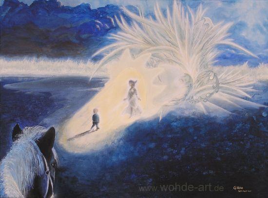 Kind mit Frau in blauer Blütenlandschaft, Pferd