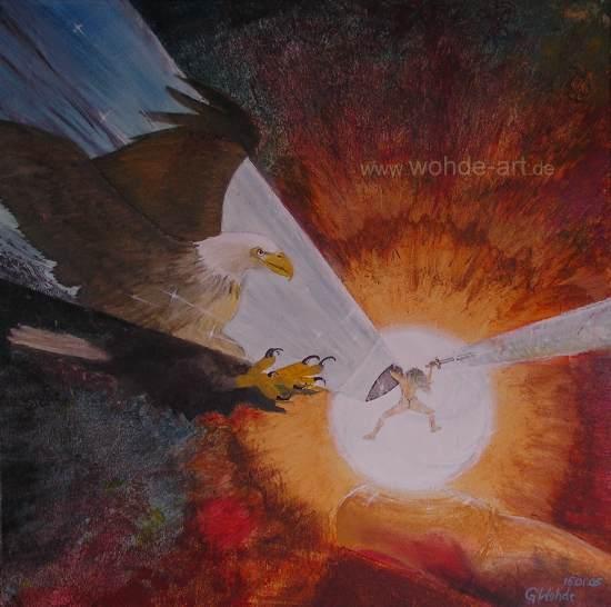 Adler und Mensch im Kampf
