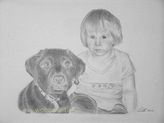 Portraizt Mädchen mit Hund