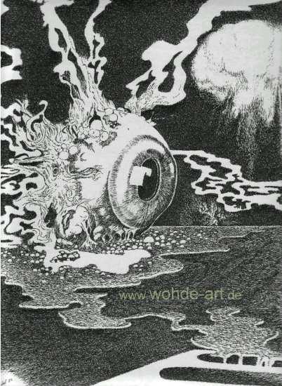 Dampfendes Auge mit Atompilz