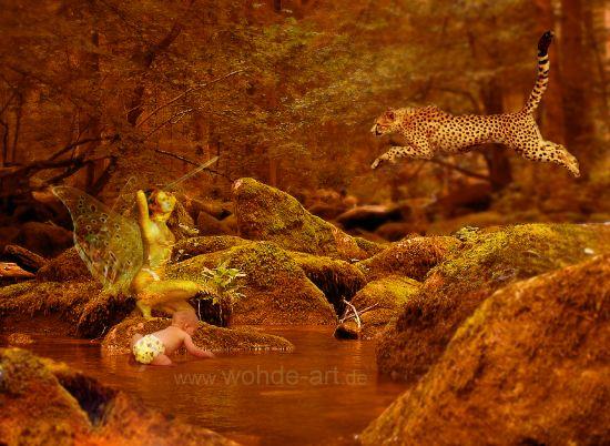 Waldfoto mit Kind, Panther und Schutzengel