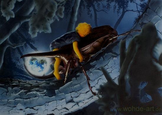 Käfer trägt Kind und Erde