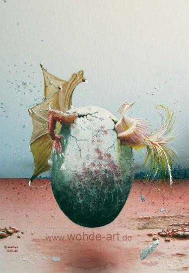 Drache und Pardiesvogel entschlüpfen dem selben Ei